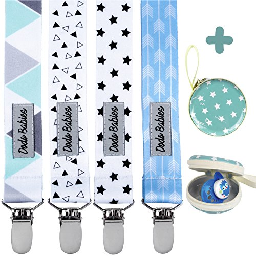 Pacifier Clip by Dodo Babies Pack of 4 + Pacifier Case, Premium Quality Modern Designs Universal Holder Leash for Boys and girls, Teething Toy or Soothie, Baby Shower Gift Set from Dodo Babies