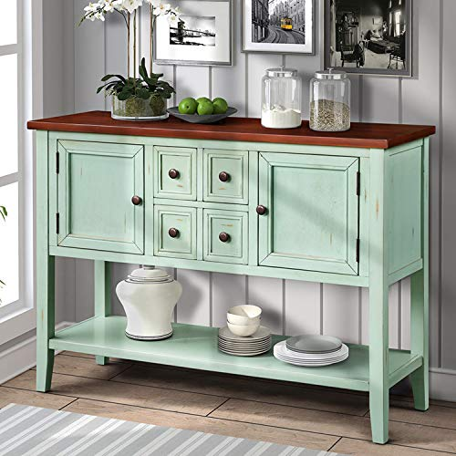 P PURLOVE Console Table Buffet Table Sideboard with Four Storage Drawers Two Cabinets and Bottom Shelf (Blue) by P PURLOVE (Image #1)