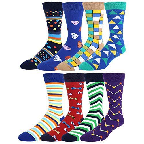 (Zmart 8 Pack Men's Dress Socks Colorful, Color Argyle Diamond Striped Cotton Business)