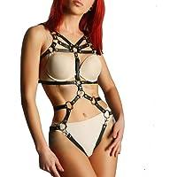 TOPFUR Women's Leather Lingerie Harness Body Bondage Strap Garter Sets Suspenders Cage Belts Adjustable Black