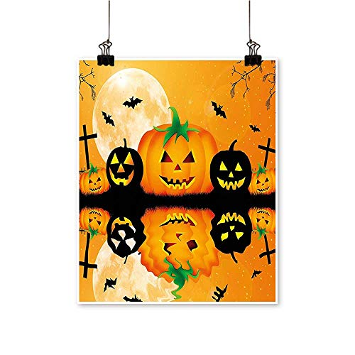 (Home Decor Carved Halloween Pumpk Full Mo Bats Grave by Lake Orange Black Art Wall Art for Room,20