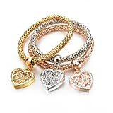 Love Heart Charm Bracelets For Women Gold Color Crystal Chain Bracelets & Bangles With Pendants
