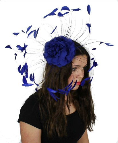 Fleur et plumes Bleu roi/Derby avec bonnet Ascot Hea...