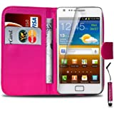 Samsung Galaxy S2 i9100 PU Leather Wallet Flip Case Cover Pouch & Mini Touch Stylus Pen + Screen Guard & Cleaning Cloth - Hot Pink