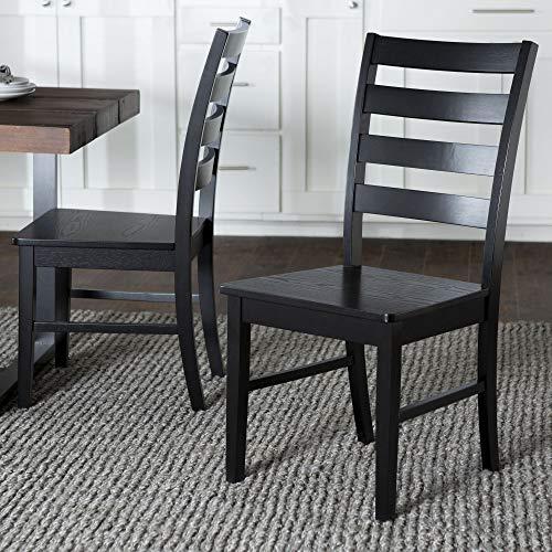 WE Furniture Modern Farmhouse Wood Kitchen Dining Chair, Set Of 2, Black