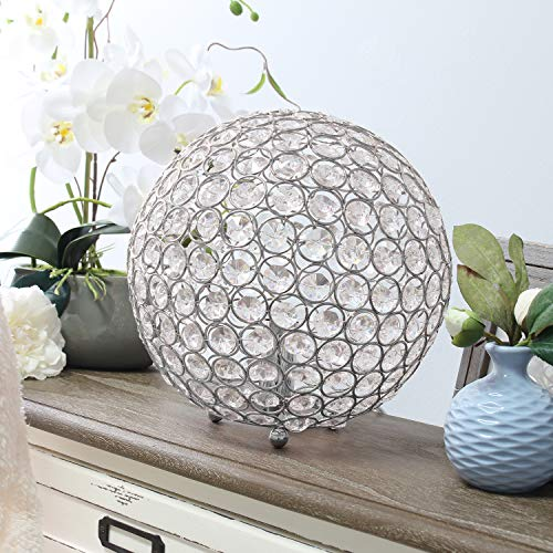 Elegant Designs LT1067-CHR Elipse 10 Inch Crystal Ball Sequin Table Lamp, Chrome