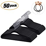 IEOKE Velvet Hangers, Nonslip Clothes Hangers Heavy Duty 360 Swivel Hanger Hook Ultra Thin Clothes Racks Perfect for Space Saving (50 Pack)