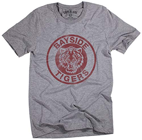 Superluxe Clothing Mens Unisex Bayside Tigers High School Funny TV Vintage 90s Zack Morris AC Slater T-Shirt, Deep Heather, Large