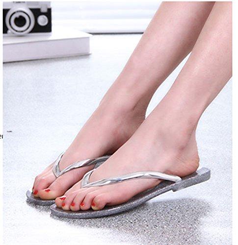 Frauen Sommer Mode Kristall Flip-Flops Kunststoff Flachen Sandalen Strand Gelee Flachen Zehenkühlen Bad Hausschuhe ( Color : Gold , Größe : 38EU ) Silber