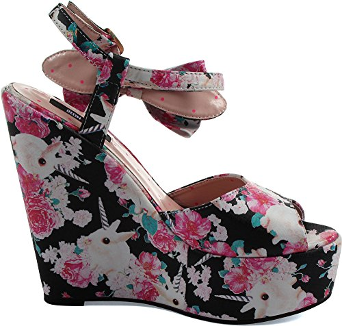 Wedge Iron N Des Black femmes Fist Buns 'Roses 7wr71PxY