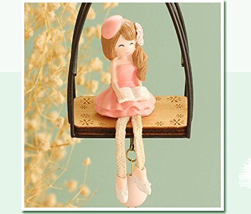 1PC Flower Girl Doll hanging Campanula Campanula pendant window features crafts Girls Birthday Gift TA11211111 ( Color : Pink girl )