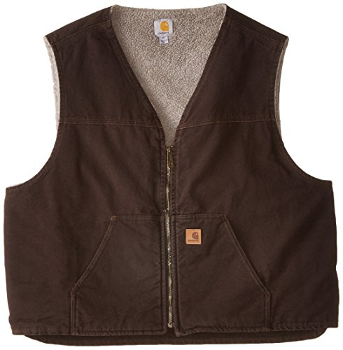 Carhartt Men's Big & Tall  Sherpa Lined Sandstone Rugged Vest V26,Dark Brown,4X-Large