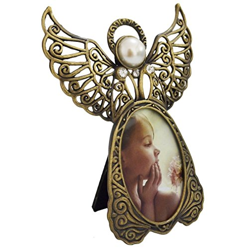 GiftGarden Angel Picture Frame 3 by 2 -inch Christmas Tree Ornament for Photo Display 2x3 (Angel Frame Christmas Ornament)