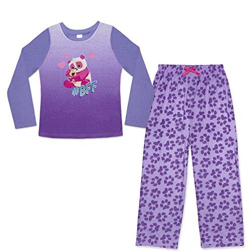 Girl's 2-Piece Pajama Set – Animal Jam Prints (Purple BFF Panda Print, Medium (7-8))