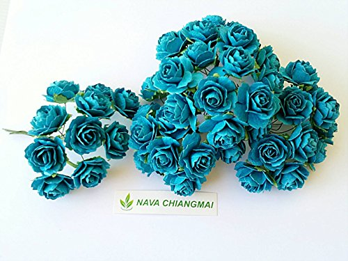 Pm Blue Handbag (100 pcs. Blue Artificial Mulberry Paper Rose Flower Wedding Scrapbook 2.0cm DIY Craft Scrapbook Scrapbooking Bouquet Craft Stem Handmade Rose Valentines Anniversary Embellishment)