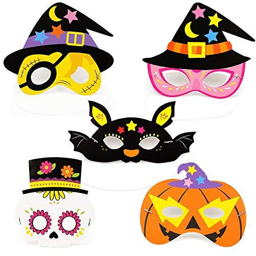 Halloween Mask Craft Kit Halloween Mardi Gras Costumes Mask DIY Cartoon Design Paper Children's Masquerade Party Mask 5