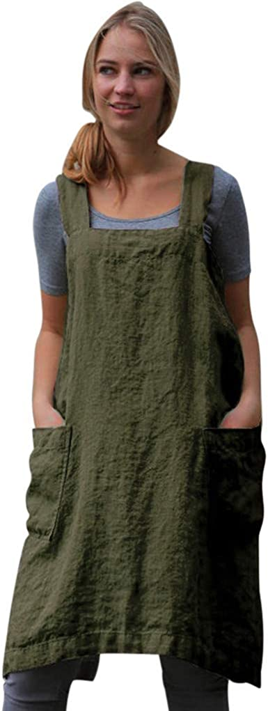 Women Cotton Linen Pinafore Dress Overalls Square Cross Apron Garden Work Loose Pinafore Dress With Pocket Clearance!