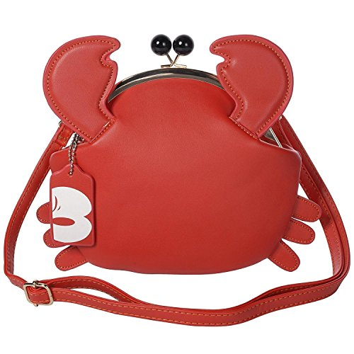 - Haolong Women's PU Crab Clasp Closure Handbag Cute Satchel Shoulder Bag Pu Leather Bag (red)
