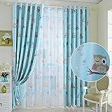 PanDaDa Cartoon Owl Bird Blackout & Sheer Tulle Curtains Kids Room Drapes Panel Home Decor