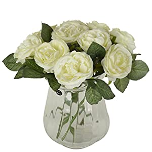 1 Bounquet Artificial Rose Artificial Flowers for Home Decor without Vase & Basket, 10Flower, Beige 59