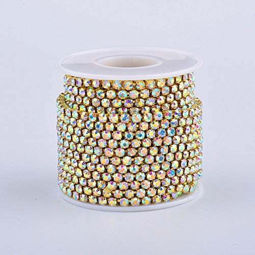 SS 6 12 16 18 Gold AB Rhinestones Cup Chain Ribbon Glass Crystal Applique Metal Trim Strass Fringe Banding for Clothes (Ss6 10yard,Gold Ab - Metal Appliques