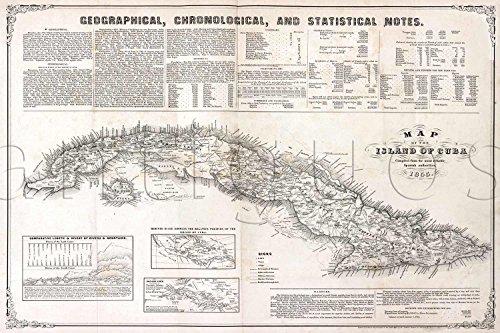 Mapa de la isla de Cuba MAP circa 1855 - measures 24