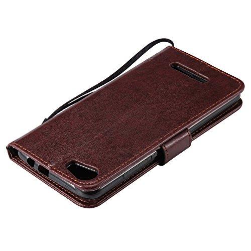 Funda Sony Xperia Z5 Premium / Z5 Plus / Z5P Case , Ecoway Patrón de mariposa de gato en relieve PU Leather Cuero Suave Cover Con Flip Case TPU Gel Silicona,Cierre Magnético,Función de Soporte,Billete marrón
