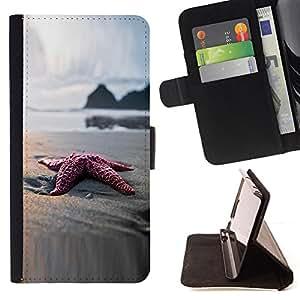 BullDog Case - FOR/Samsung Galaxy S4 IV I9500 / - / Beach Star Sand Ocean Bokeh /- Monedero de cuero de la PU Llevar cubierta de la caja con el ID Credit Card Slots Flip funda de cuer