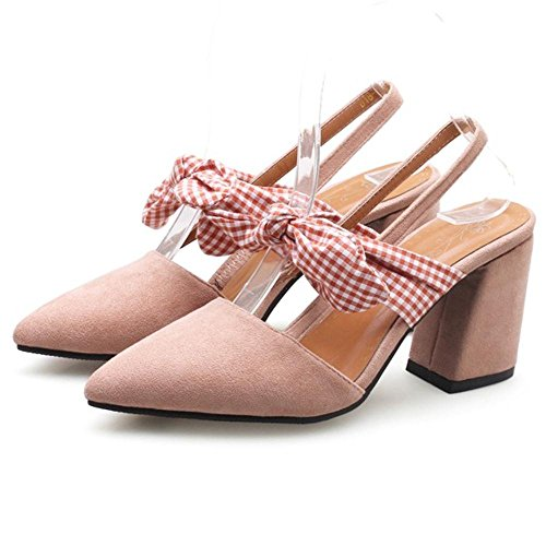 Sandals Block Pink Women Heel Shoes 7 Slingback TAOFFEN q7wtf