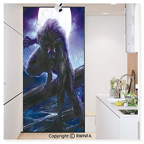 RWN Film Removable Static Decorative Privacy Window Films Surreal Werewolf with Electric Eyes in Full Moon Transformation Folkloric for Glass (17.7In. by 78.7In),Purple Blue