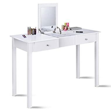 Giantex Vanity Dressing Table with Flip Makeup Mirror, Simple Style Multifunctional as Writing Desk with 9 Removable Divider Organizers for Storage, Vanity Tables Organizer w/ 2 Drawers, White