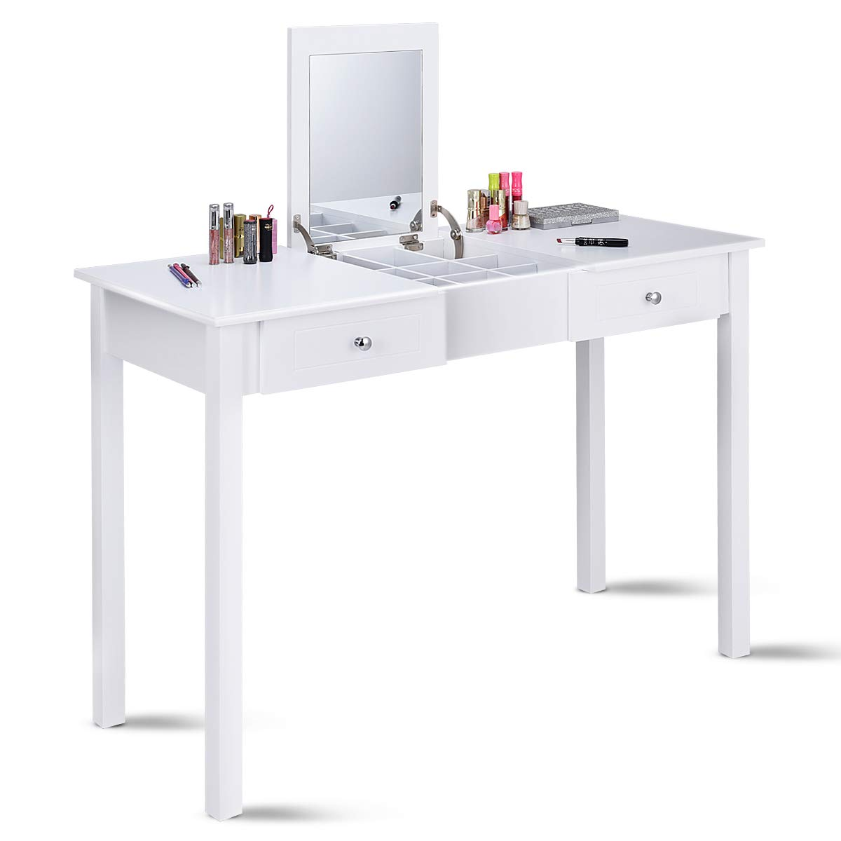 Giantex Vanity Table with Flip Top Mirror with 2 Drawers 1 Removable Organizer Dressing Table Vanity Table, White by Giantex (Image #1)