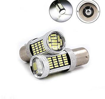 Rcj coche bombillas LED 1156 BA15S SMD 4014 92 para Auto Turn Signal de freno trasera copia de seguridad Reverse luces lámparas blanco (Pack de 2): ...