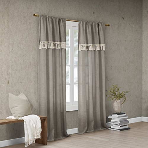 Taupe Tassel - Madison Park Brynn Faux Linen Rod Pocket Window Curtain Panel with Attached Tassel Trim Valance Drape for Bedroom Living Room and Dorm, 50