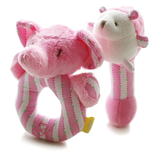 SHILOH Baby Elephant and Hedgehog Plush Rattle 2 count Pink 4.8inX5.6in by SHILOH