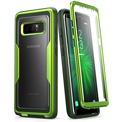 i-Blason Case Designed for Galaxy Note 8, [Magma Series] Built-in Screen Protective Clear Back Cover with Holster [Heavy Duty] Belt Clip Shell (MetallicGreen)