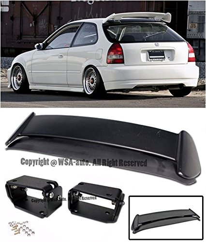 EOS Body Kit Rear Wing Spoiler With Black Adjustable Alex Tilt Brackets - For Honda Civic EK 96-00 3 Door Hatchback 1996 1997 1998 1999 2000