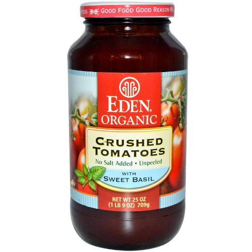 EDEN FOODS TOMATO CRSHD BASIL AMBR, 25 (Tomatoes In Glass)