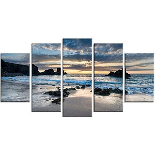 Design Art PT14736-60-32-5PD Beautiful Porthcothan Bay-Modern Seashore Canvas Wall Art Print, 60x32-5 Panels Diamond ()