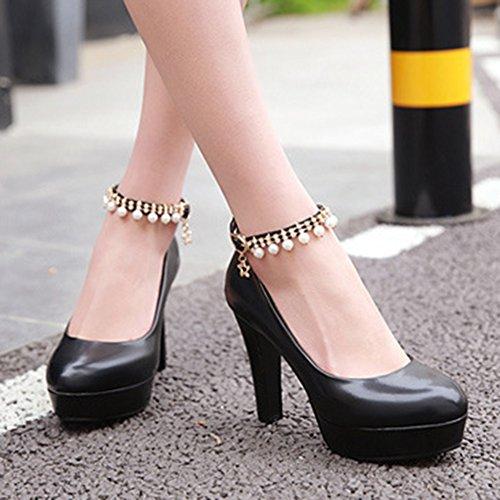Donne Zeppa Tacco Alto con fibbie plateau cinturini Chunky sandali scarpe numero