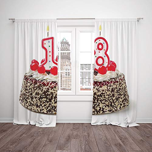 Thermal Insulated Blackout Window Curtain,18th Birthday Decoration,Sweet Eighteen
