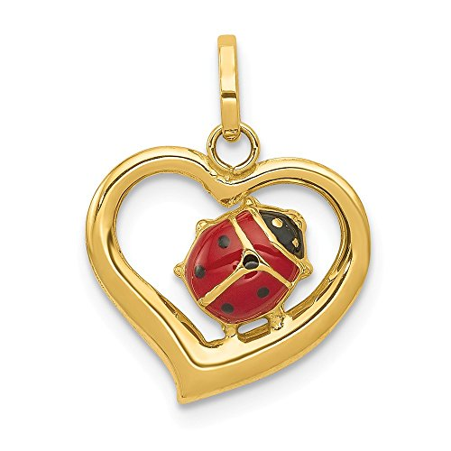 14k Yellow Gold Enameled Ladybug In Heart Pendant Charm Necklace Insect Fine Jewelry Gifts For Women For Her ()