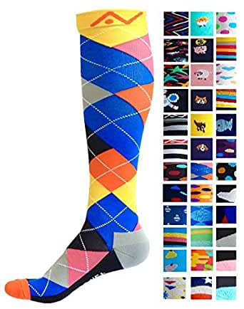 Compression Socks (1 pair) for Women & Men - Easywear Series - Best Graduated Athletic Fit for Running, Nurses, Flight Travel, & Maternity Pregnancy - Boost Stamina & Recovery (Ardent Argyle, S/M)