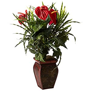 Nearly Natural 6678 Mixed Greens and Anthurium with Vase Decorative Silk Plant, Green 94