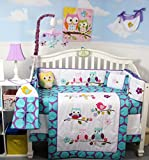Soho Lavender Owls Party Dot Complete Nursery Bedding Set Including Diaper BAg with Accessories