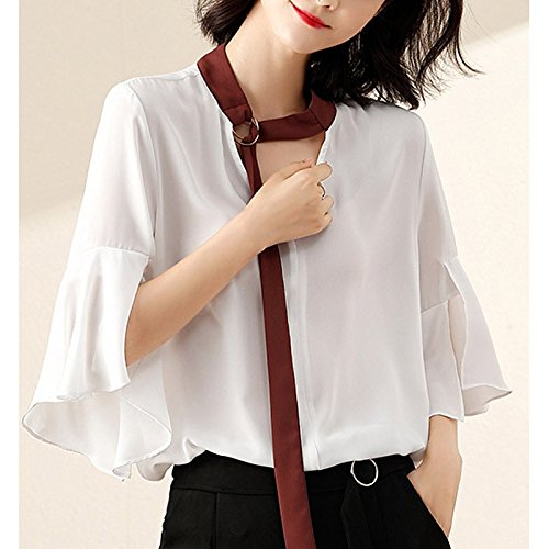 White XXL Women's Blouse  Solid colord v Neck
