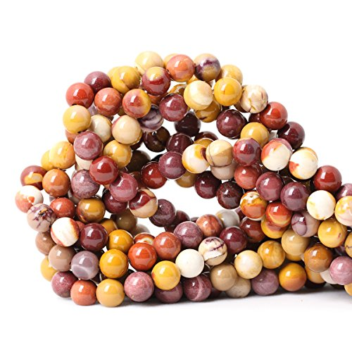 CHEAVIAN 45PCS 8mm Natural Moonkaite Jasper Gemstone Round Loose Beads for Jewelry Making DIY handmade 1 Strand ()