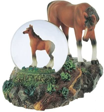 George S. Chen Imports Snow Globe Horse with Foal Collection Figurine
