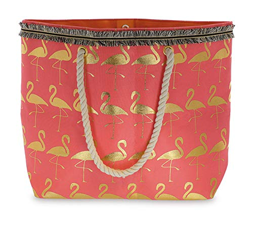 (Canvas Pink Tote Bag with Gold Flamingos)