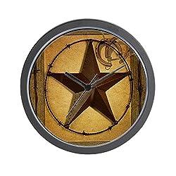 CafePress - Texas Star Horseshoe Western - Unique Decorative 10 Wall Clock